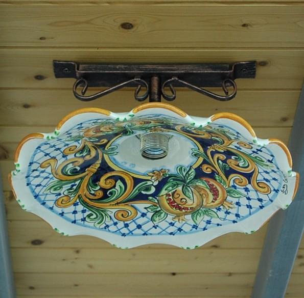 Lampadari In Ceramica Di Caltagirone.Lampadario Attacco Tetto Coppa Cm35 Siad Ceramiche Di Caltagirone