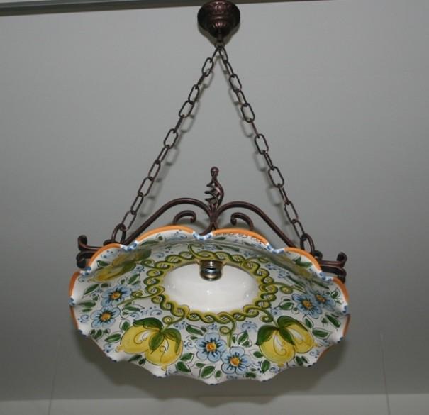 Lampadari In Ceramica Di Caltagirone.Lampadario Singolo Ferro Coppe Cm40 Siad Ceramiche Di Caltagirone