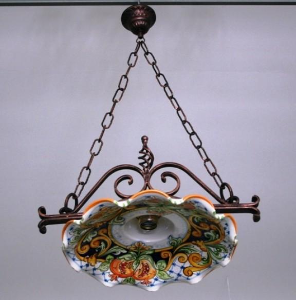 Lampadari In Ceramica Di Caltagirone.Lampadario Singolo Ferro Coppe Cm45 Siad Ceramiche Di