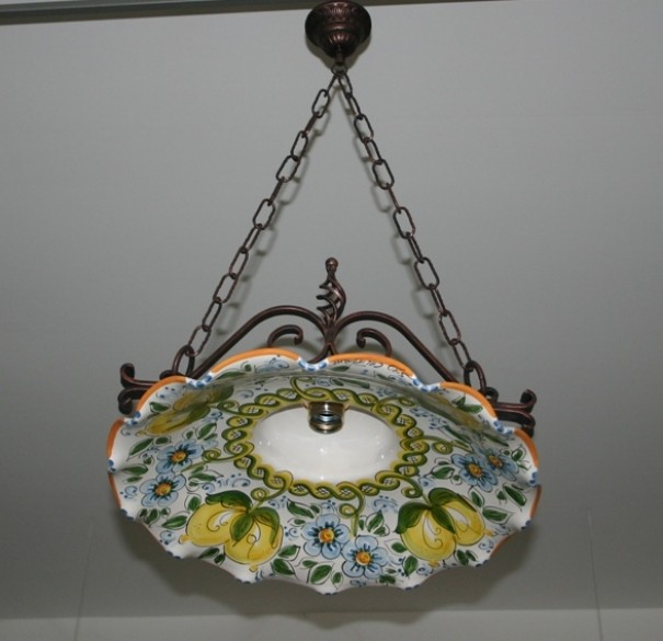 Lampadari In Ceramica Di Caltagirone.Lampadario Singolo Ferro Coppe Cm45 Siad Ceramiche Di Caltagirone