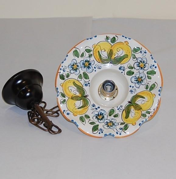 Lampadari In Ceramica Di Caltagirone.Lampadario Smerlato Cm20 Con Catena Siad Ceramiche Di Caltagirone