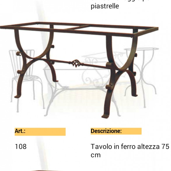 struttura in ferro per tavoli - Siad Ceramiche di Caltagirone
